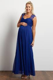 blue lace accent chiffon maternity evening gown