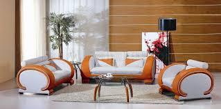 3 Pc Living Room Set Two Tone Leather Modern 3 Living Room Set 7391 White Orange