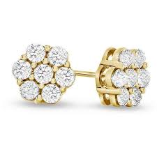 cluster stud earrings 1 2 carat diamond flower cluster stud earrings in 10k yellow gold