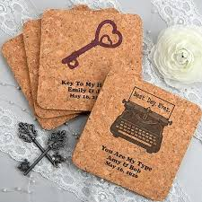 wedding coasters favors drink coasters square cork custom printed wedding