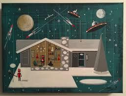 el gato gomez painting retro mid century modern ranch house robot