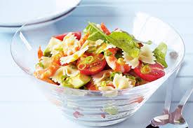 prawn avocado and baby roma truss tomato pasta salad