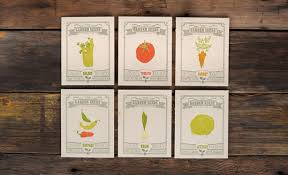 six garden themed greeting cards that grow vegetables when planted