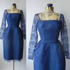 1950 dress blue 50s dress blue lace vintage dress 1950 blue