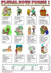 plural nouns esl printable worksheets and exercises