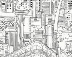city skyline sketch etsy