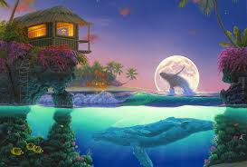 beach refuge life flowers fish waves whales moon house night home