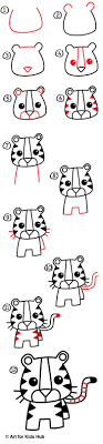 how to draw a tiger for hub