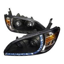 2004 honda accord headlights 04 05 honda civic black r8 style projector led drl headlights