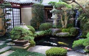 Modern Country Japanese Garden Home Design With Small Koi Pond