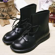womens boots rubber sole black flat ankle boots for genuine leather toe lace up