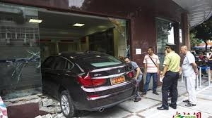 vip bmw bmw 535i gt crashes into bank u0027s vip area in china
