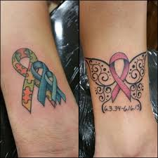 collection of 25 cancer ribbon butterfly on leg
