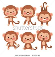 set cute funny monkeys cartoon style stock vector 313559369