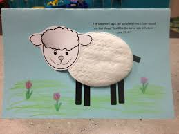 a craft for the lost sheep parable using cotton pad from cosmetic