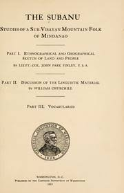 the subanu studies of a sub visayan mountain folk of mindanao