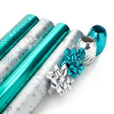 christmas wrapping paper sets debenhams silver and turquoise christmas wrapping paper set at