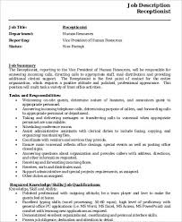 Job Duties Of A Receptionist For Resume by Receptionist Resume Sample 8 Examples In Word Pdf