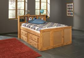 oak finish children full size bed with bookcase storage headboard
