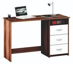 Schreibtisch 130 Schreibtisch Nussbaum Weiss Mit 3 Schubkästen