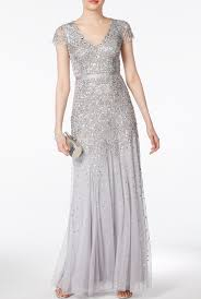 papell dress papell silver cap sleeve embellished beaded dress gown