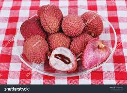 lychee fruit peeled lychee chinese plum exotic fruit diet stock photo 374686402