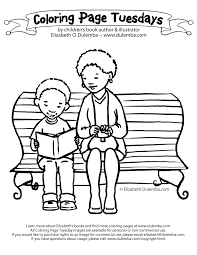 dulemba coloring page tuesdays reading bench