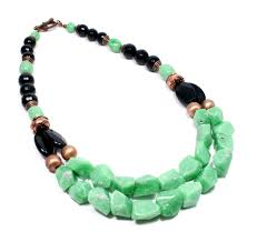 art deco inspired green and black gemstone necklace big skies