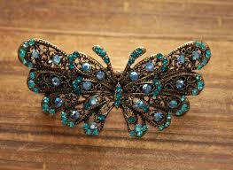 barrettes for hair teal blue rhinestone butterfly barrettes hair clip on luulla