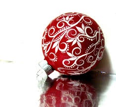christmas ornament red and white ornament hand painted medium