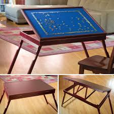 Jigsaw Puzzles Tables by Fold Go Wooden Jigsaw Table Makes Working On Puzzles A Breeze