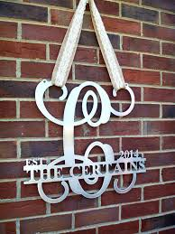 monogrammed wedding gifts metal monogram door hanger monogrammed metal wreath metal wall