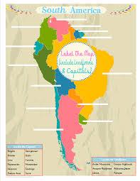 south america unit study colorful free printable map printable
