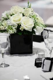 anyone can create this simple black and white flower centerpiece