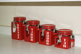Red Kitchen Canisters Sets Red Ceramic Kitchen Canisters 100 Red Kitchen Canister Set