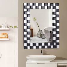 bathroom mirror rectangular wall mounted wooden frame vanity home