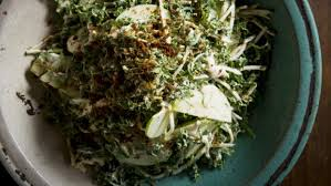celeriac apple and kale slaw with sour cream anchovy and roast