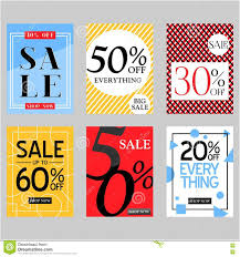 set of flat vector sale posters and special discount cards for