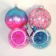 glittered pink and blue glass ornaments from