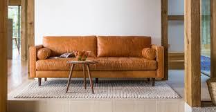 Midcentury Modern Sofas - tan brown leather sofa italian leather article sven modern