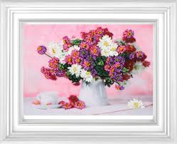 Pretty Vase Chinese Needlework Diy Ribbon Cross Stitch Sets For Embroidery Kit