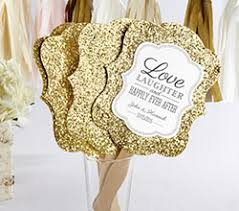 wedding fan favors personalized gold glitter fan gold glam fan favors by