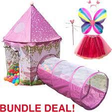 amazon com playz 6 piece princess castle play tent with crawl