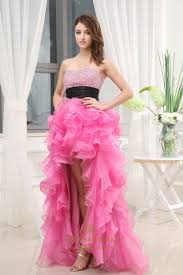 strapless organza dress with ruffled skirt pink short prom