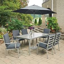 Patio Table 6 Chairs South Beach 9 Pc Rectangular Outdoor Dining Table 6 Chairs With