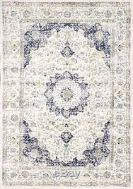 Off White Rug New Traditional Vintage Modern Distressed Blue Off White Persian