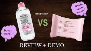 garnier micellar makeup removing wipes review demo youtube