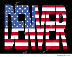American Flag In Text Illustration Of Denver Text With Flag