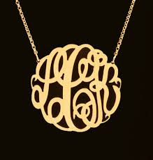 monogram necklaces gold big slim gold monogram necklace 1 5 8 inch purple mermaid