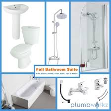 bath bathroom suite toilet basin sink taps shower screen bath
